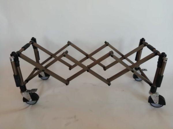 Carrello usa portaferetri ruote diam. 120x32 con maniglie, Bronzo satinato + parafanghi