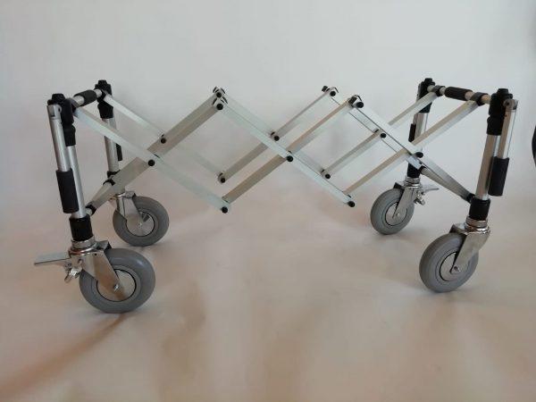 carrello usa portaferetri ruote diam. 200x50 con maniglie, Argento satinato